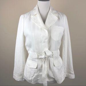 Talbots white Linen Utility Style Jacket